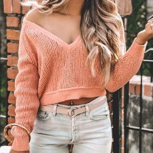 Free People slouchy cropped sweater